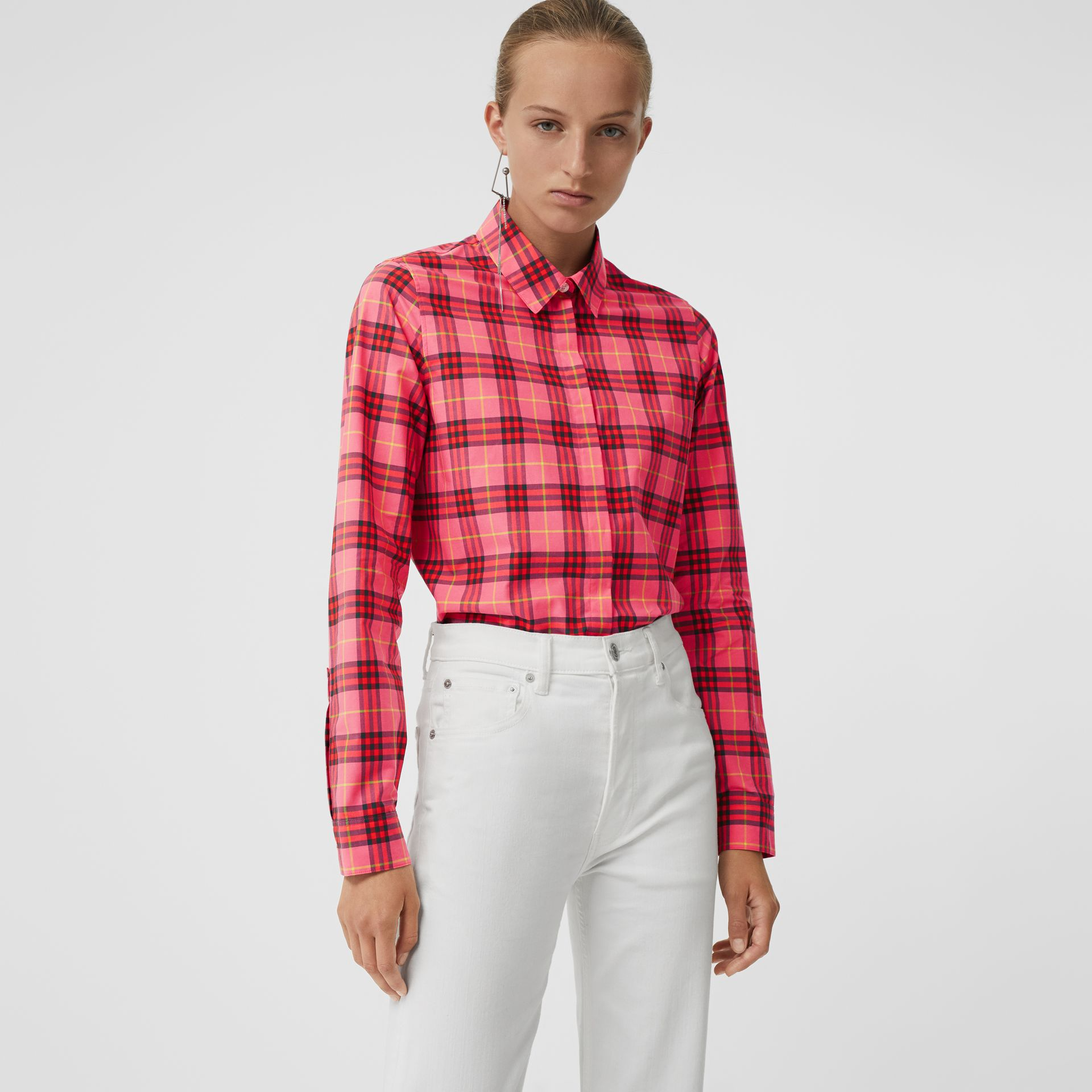 Check Cotton Shirt in Coral Red - Women | Burberry - gallery image 0
