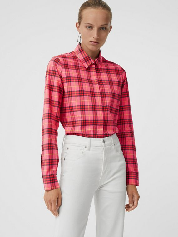 Check Cotton Shirt in Coral Red