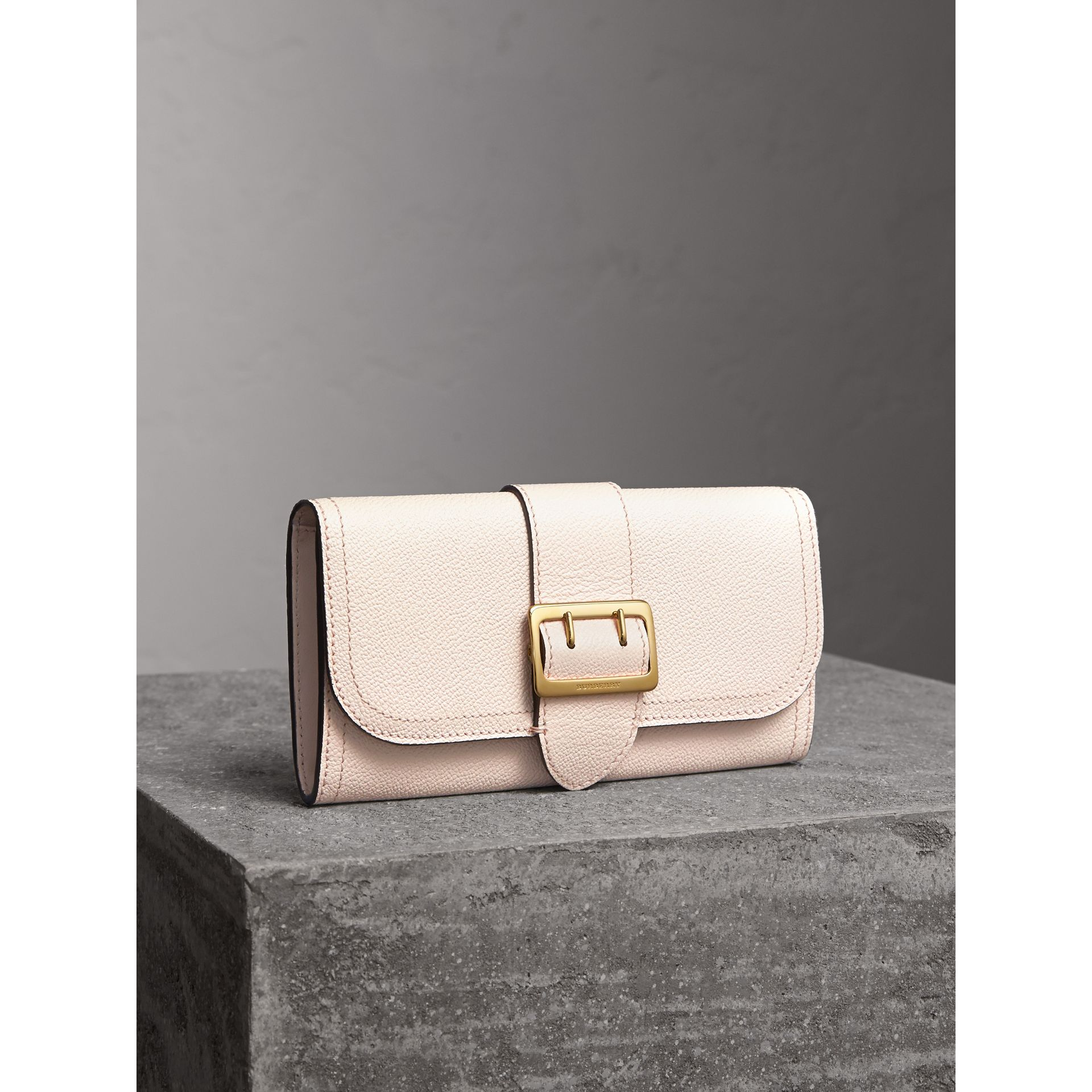 Textured Leather Continental Wallet in Limestone - Women | Burberry United States - gallery image 1
