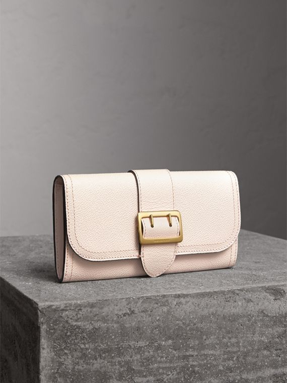 Textured Leather Continental Wallet in Limestone - Women | Burberry