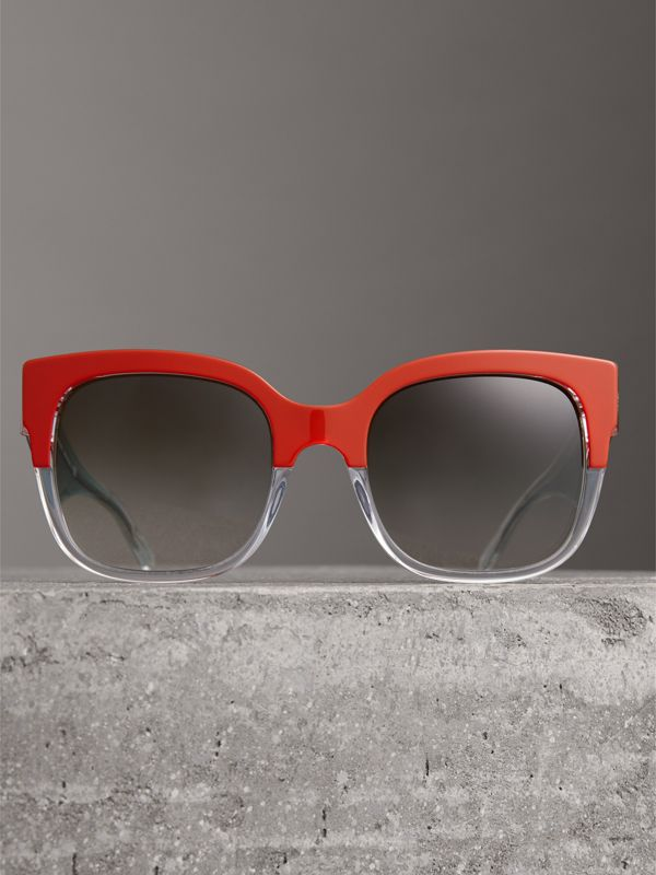 Two-tone Oversize Square Frame Sunglasses in Orange - Women | Burberry Singapore - cell image 3