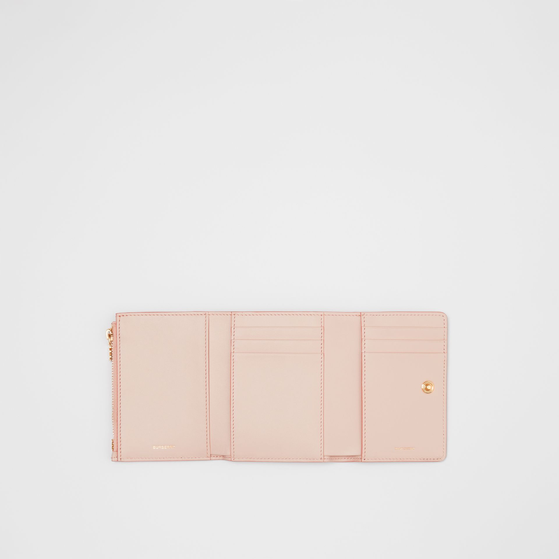 Small Monogram Leather Folding Wallet in Rose Beige | Burberry - gallery image 2