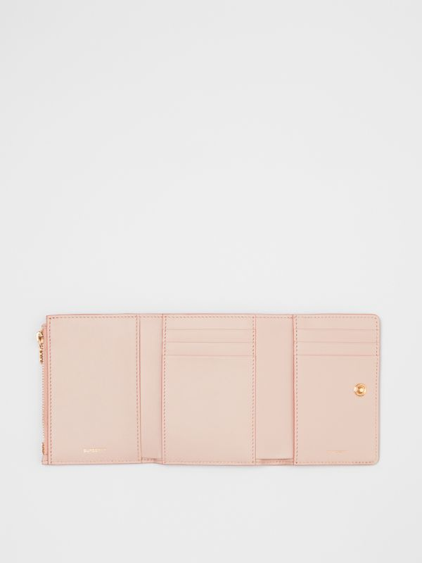 Small Monogram Leather Folding Wallet in Rose Beige - Women | Burberry - cell image 2