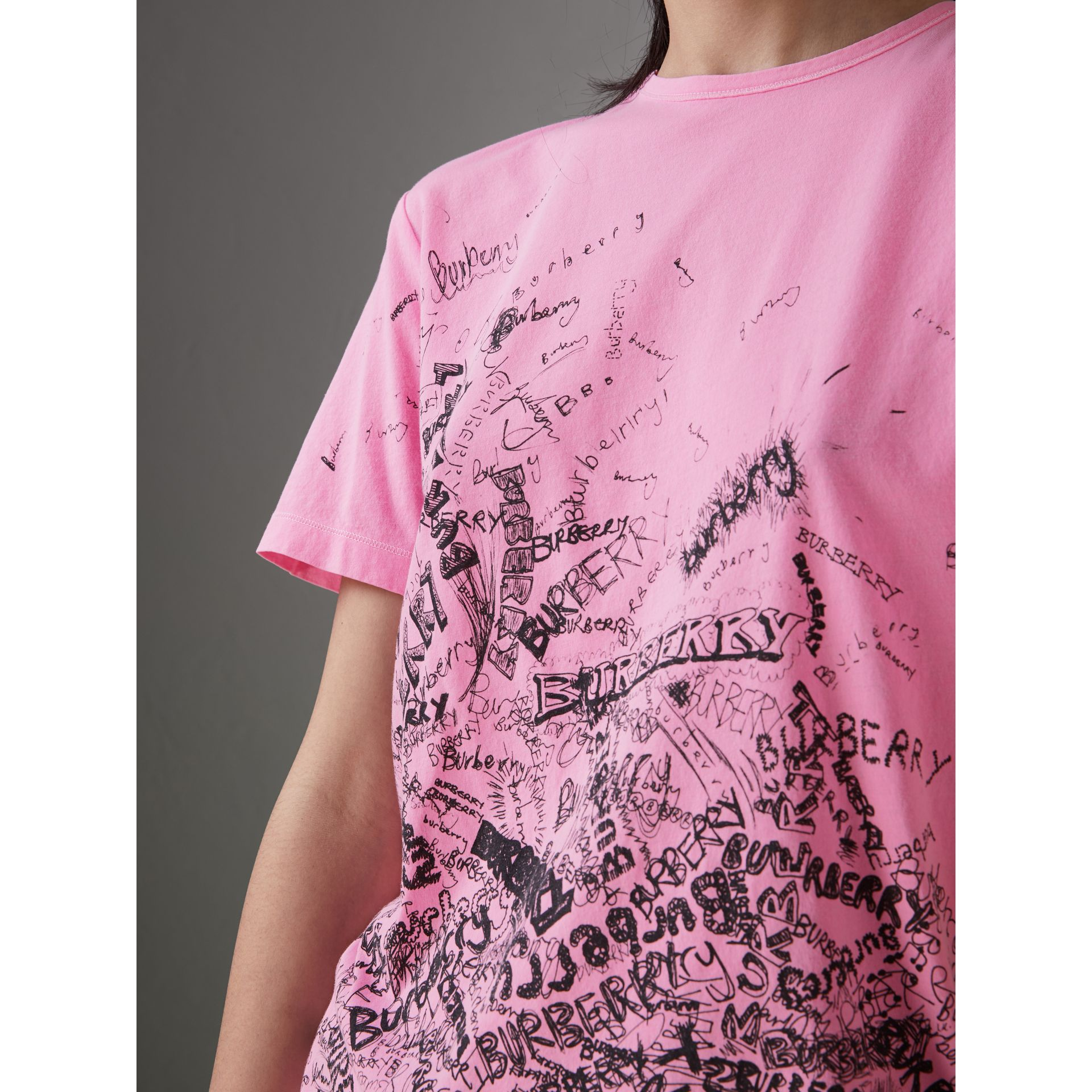Doodle Print Cotton T-shirt in Bright Rose Pink - Women | Burberry - gallery image 1