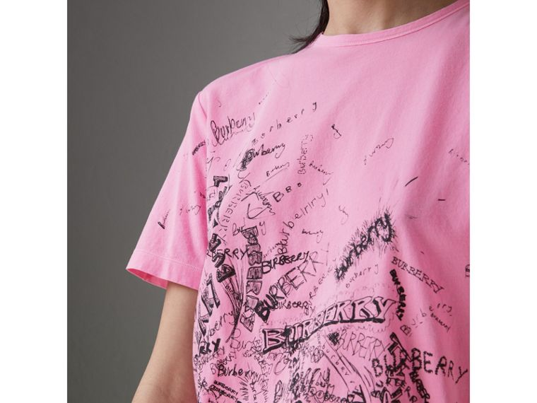 Doodle Print Cotton T-shirt in Bright Rose Pink - Women | Burberry - cell image 1