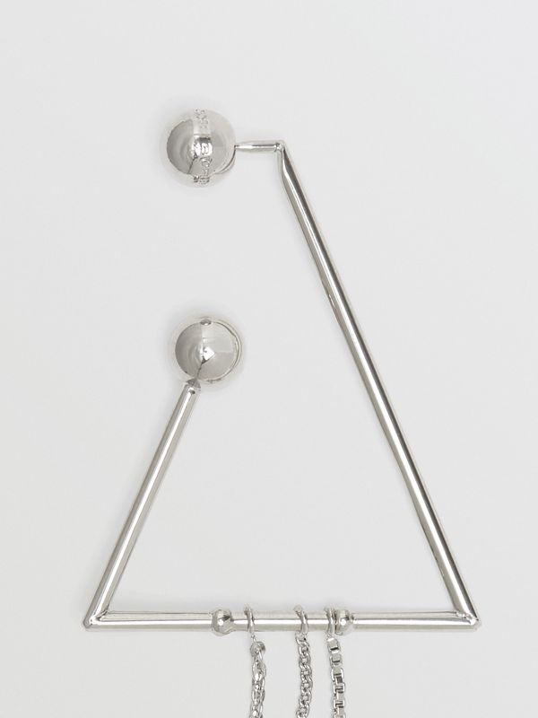 Triangle and Oval Palladium-plated Drop Earrings in Palladio - Women | Burberry United States - cell image 3