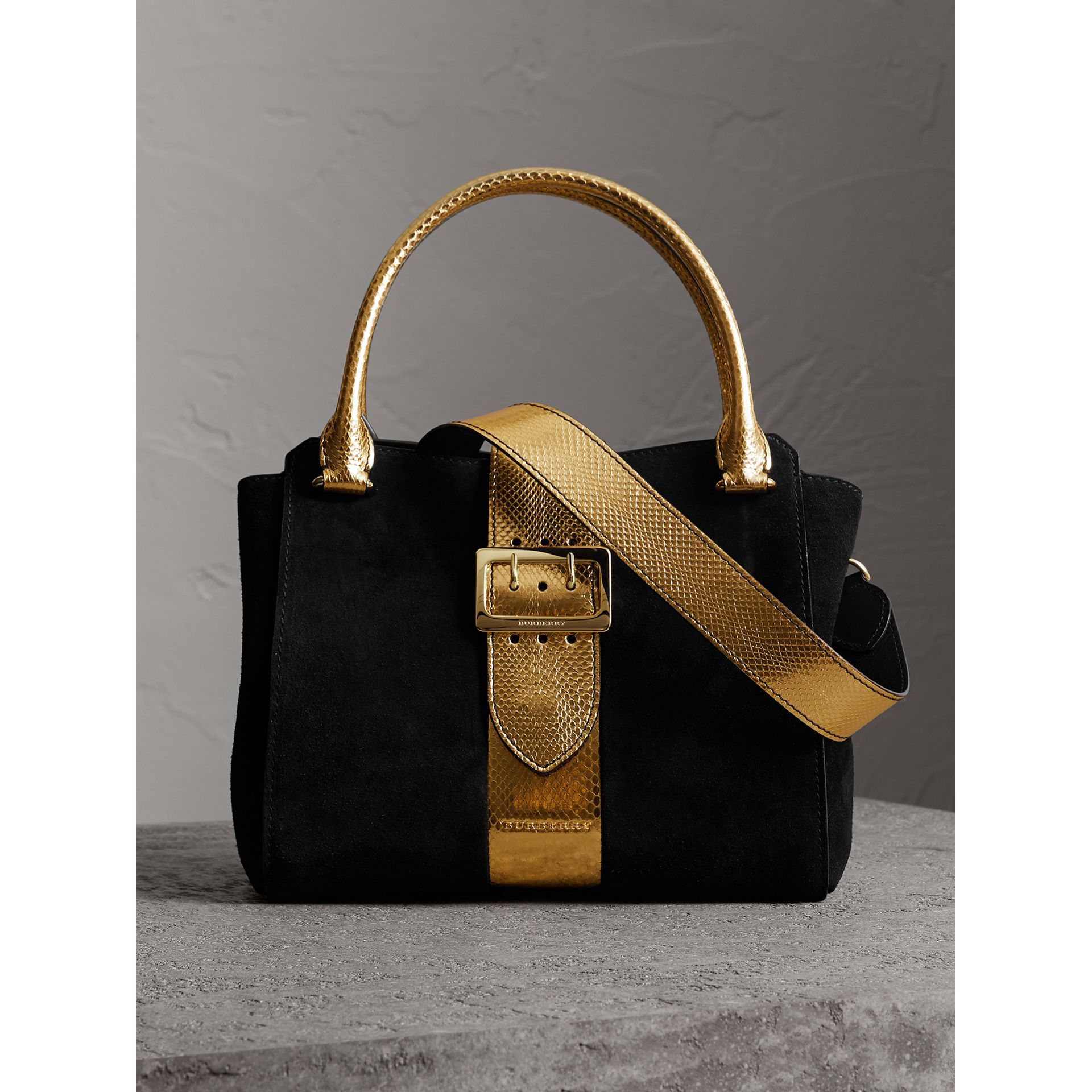 The Medium Buckle Tote in Suede and Snakeskin in Black/gold - Women | Burberry - gallery image 1