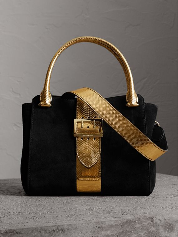 The Medium Buckle Tote in Suede and Snakeskin in Black/gold