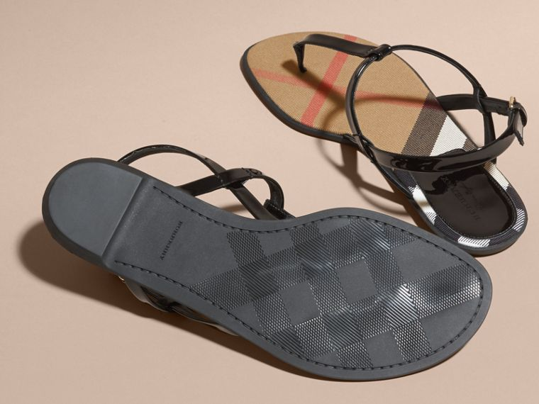 House Check-lined Leather Sandals - Women | Burberry - cell image 4