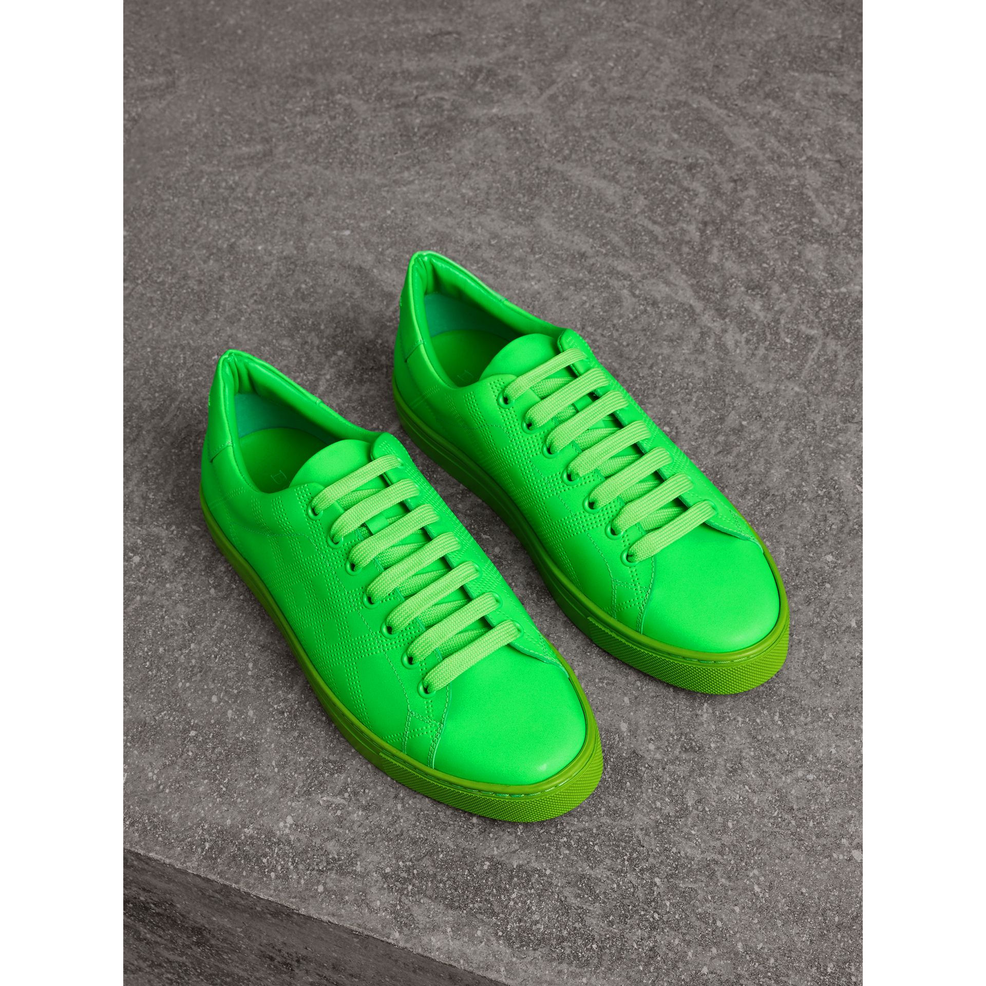 Perforated Check Leather Trainers in Neon Green - Men | Burberry - gallery image 0