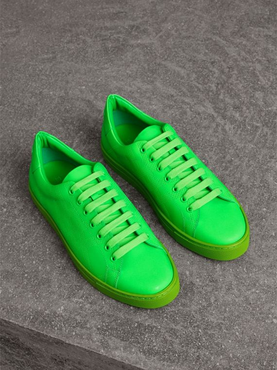 Perforated Check Leather Trainers in Neon Green