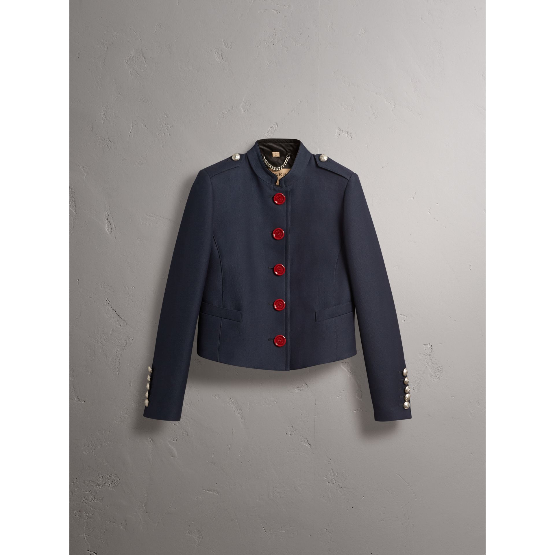 Resin Button Wool Cotton Blend Jacket in Ink Blue - Women | Burberry United Kingdom - gallery image 3