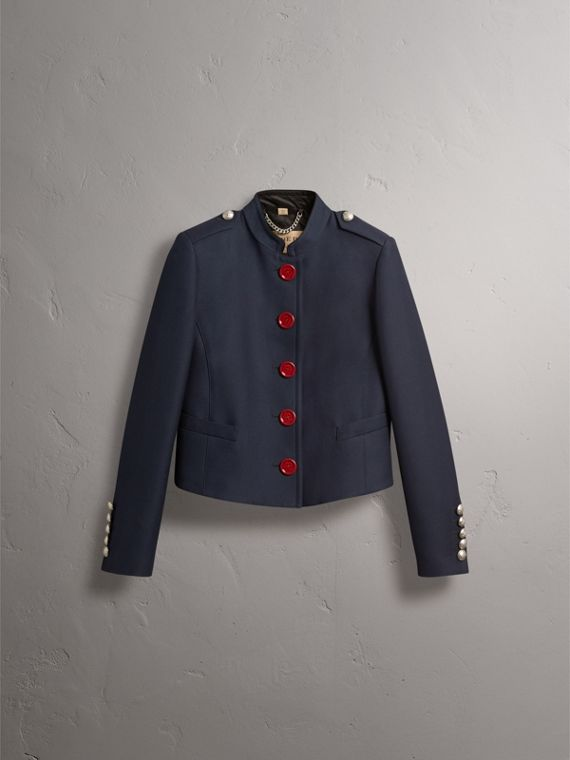Resin Button Wool Cotton Blend Jacket in Ink Blue - Women | Burberry - cell image 3