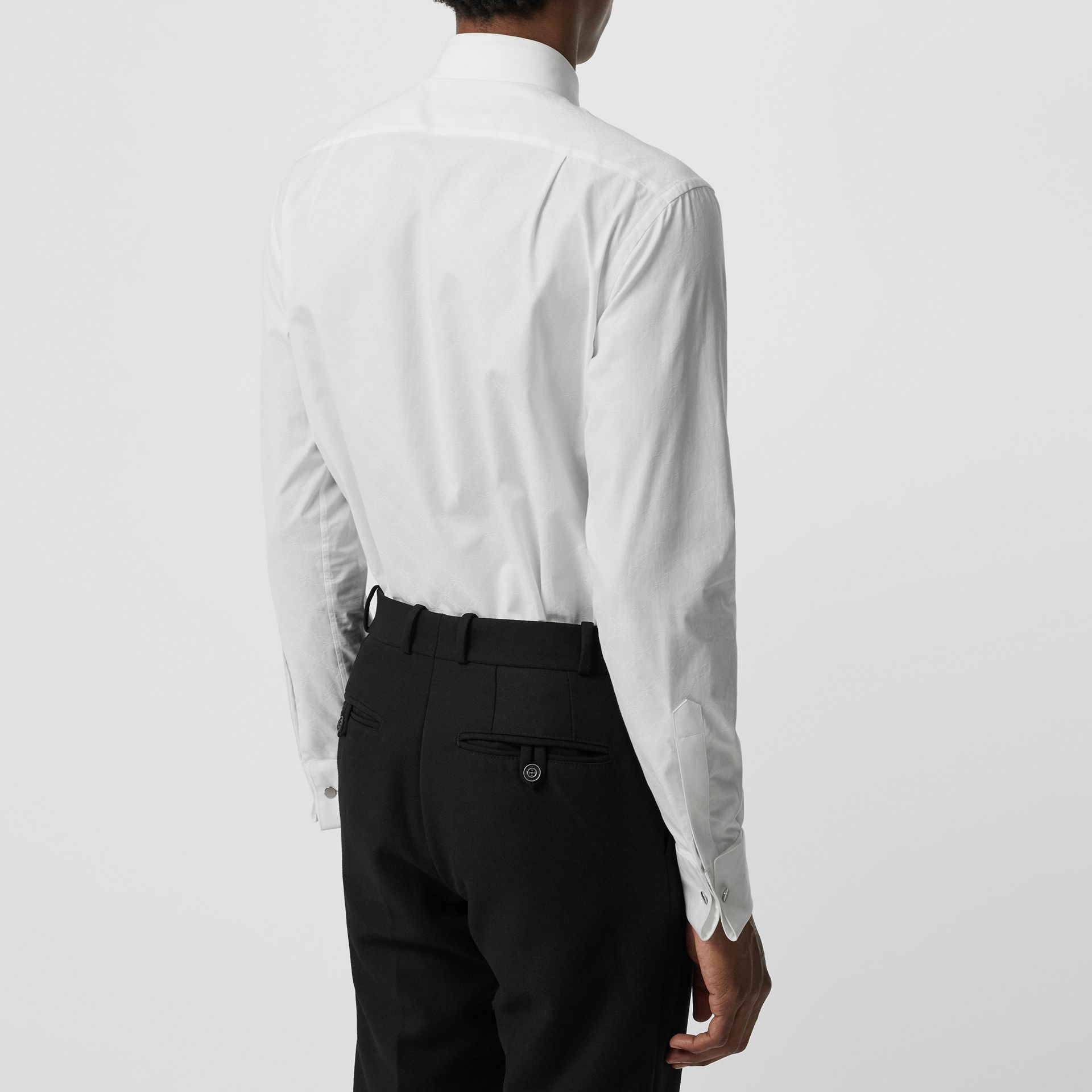 Classic Fit Link Cotton Jacquard Dress Shirt in White - Men | Burberry - gallery image 2