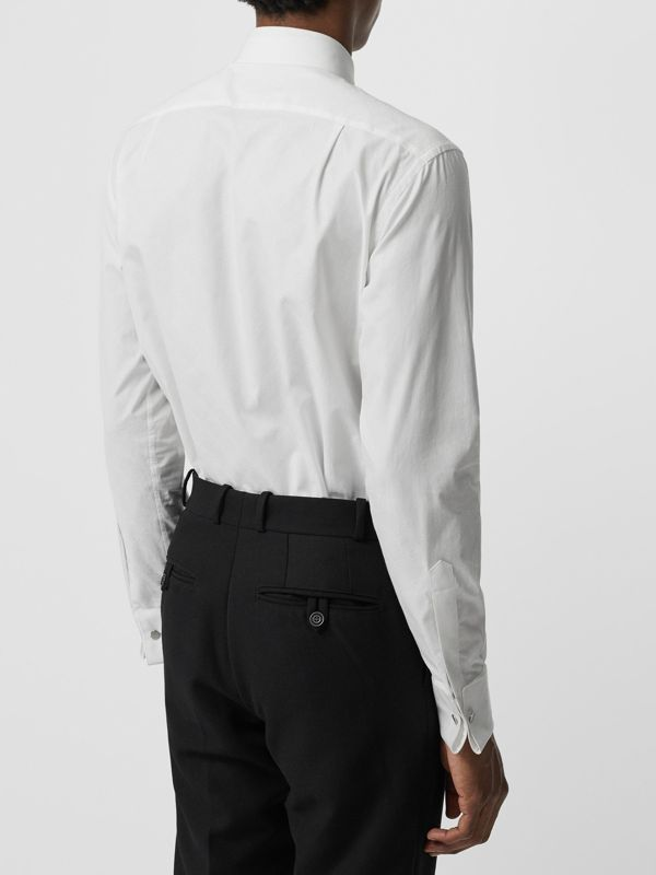 Classic Fit Link Cotton Jacquard Dress Shirt in White - Men | Burberry - cell image 2