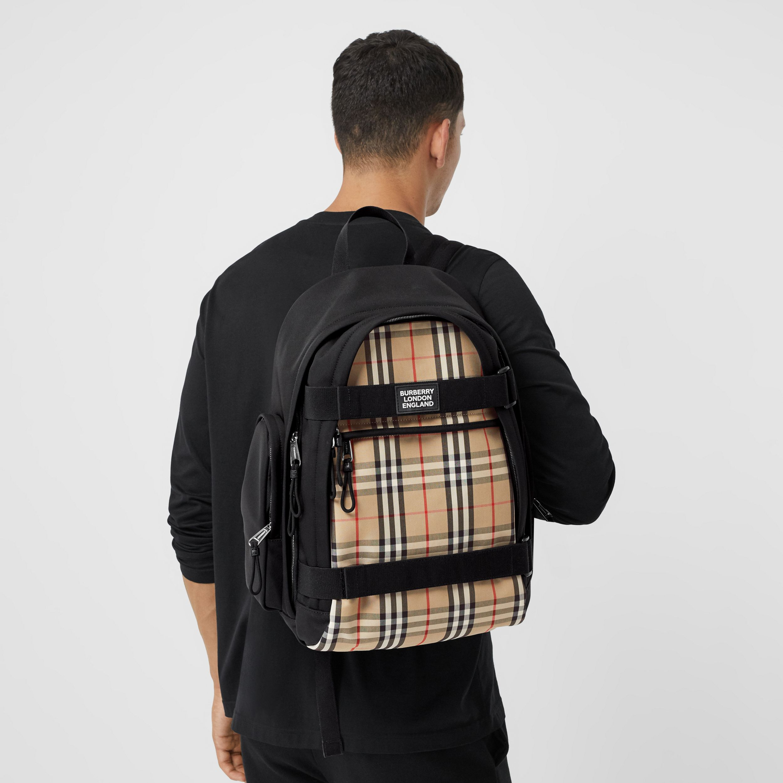 Large Vintage Check Panel Nevis Backpack in Archive Beige | Burberry - 4
