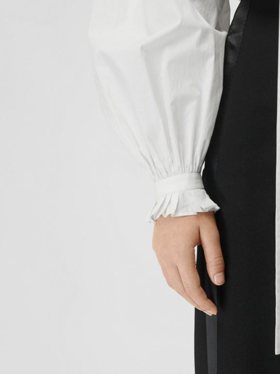 Puff-sleeve Cotton Tie-neck Blouse in White - Women | Burberry - cell image 1