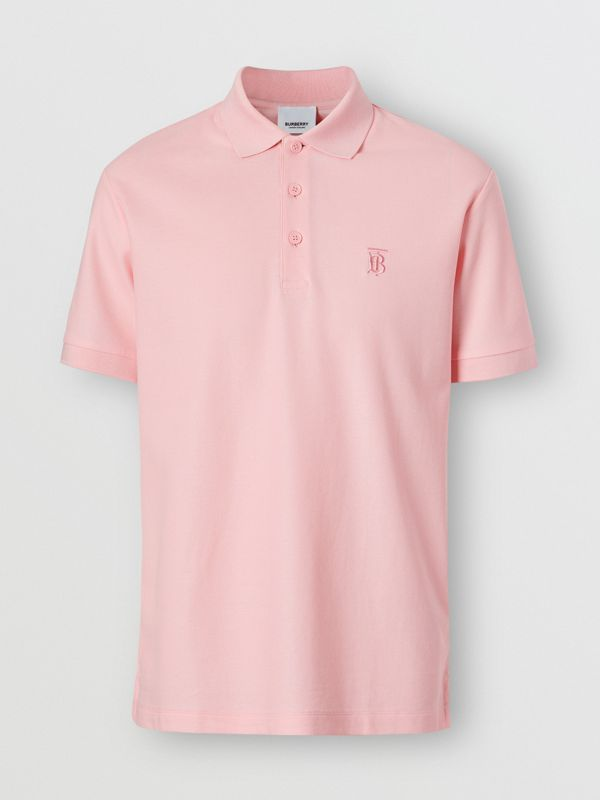 Monogram Motif Cotton Piqué Polo Shirt in Candy Pink - Men | Burberry - cell image 3