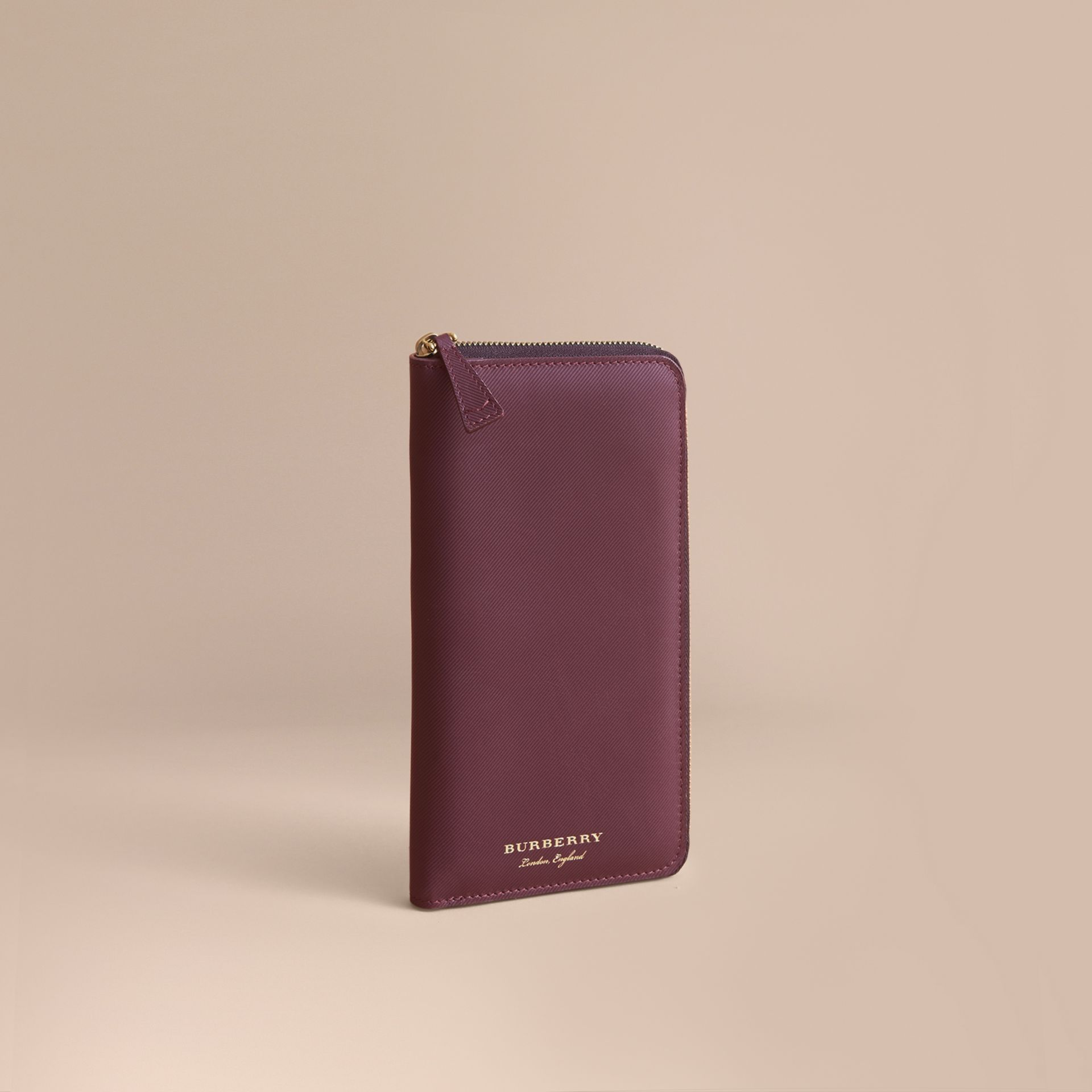 Trench Leather Ziparound Wallet in Wine - Men | Burberry Australia - gallery image 1