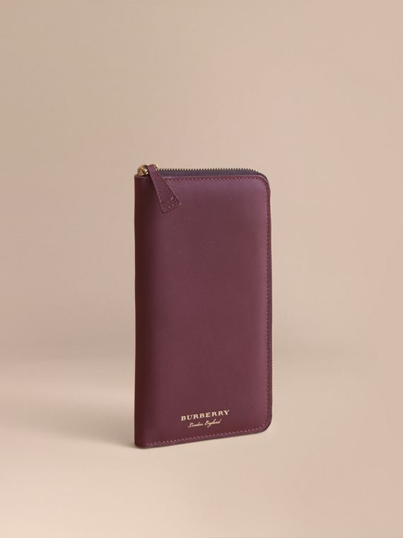 Trench Leather Ziparound Wallet in Wine - Men | Burberry