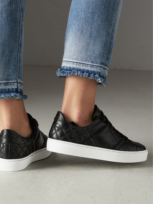 Check-quilted Leather Sneakers in Black - Women | Burberry Canada - cell image 2
