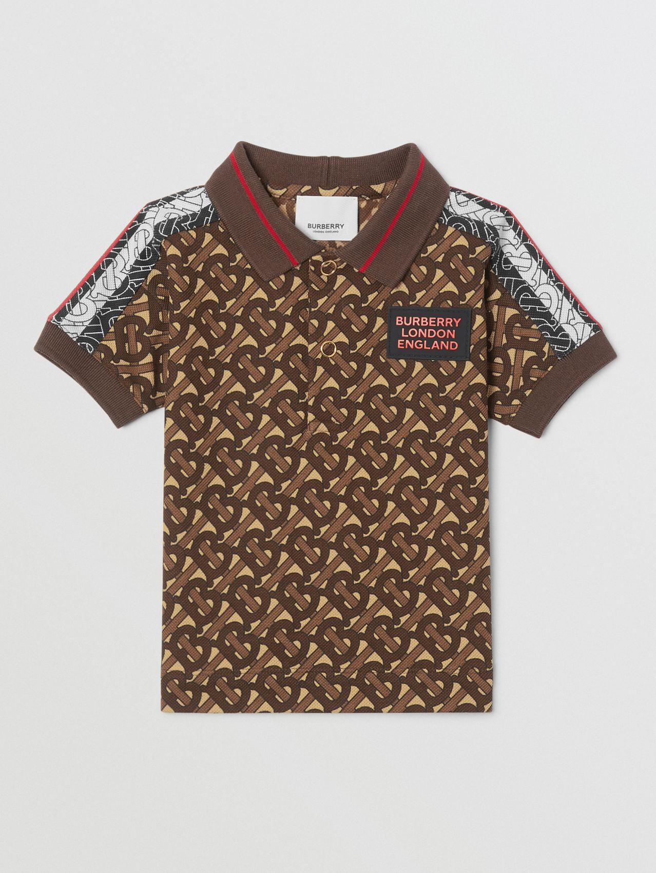 Monogram Stripe Print Cotton Piqué Polo Shirt (Bridle Brown)