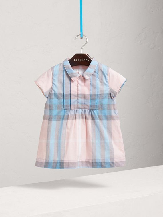 Pleated Bib Check Cotton Dress in Ice Pink
