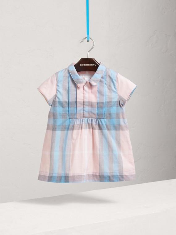 Платье из хлопка в клетку с плиссировкой (Розовый Лед)