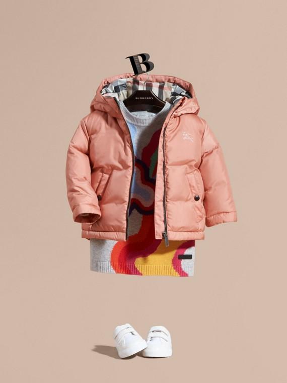 Двустороннее пальто на пуху Светлый Медно-розовый