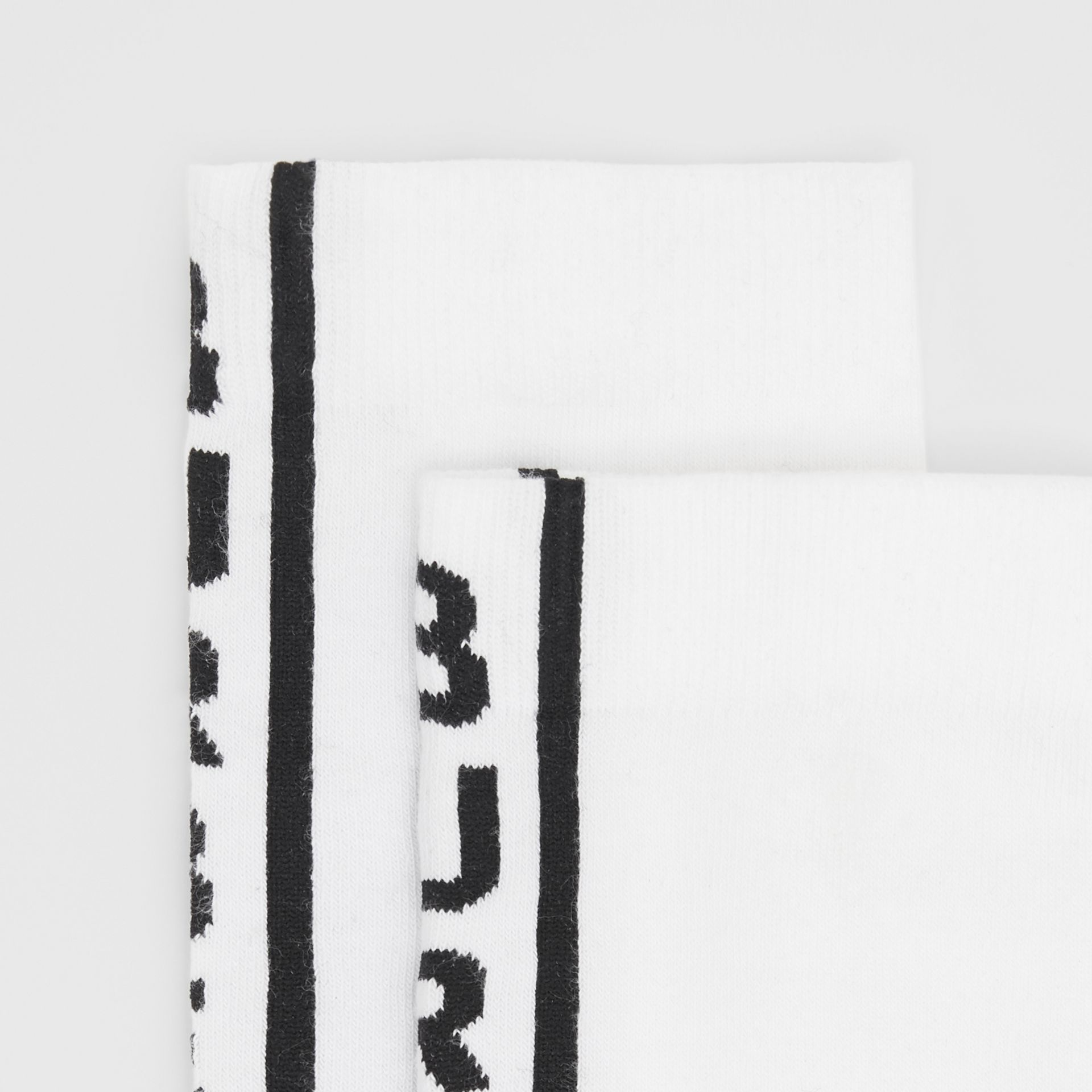 Logo Intarsia Cotton Blend Socks in Black/white | Burberry - gallery image 1