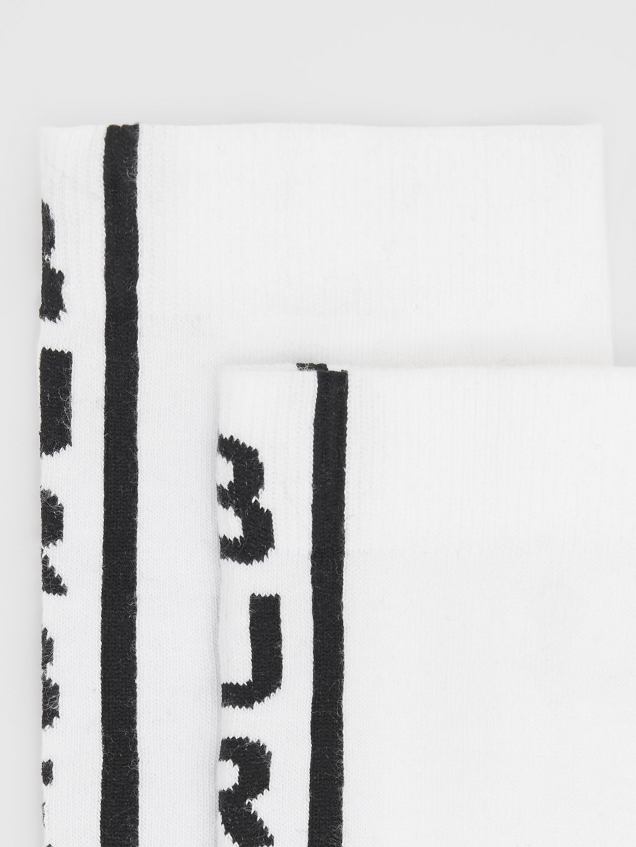 Logo Intarsia Cotton Blend Socks in Black/white