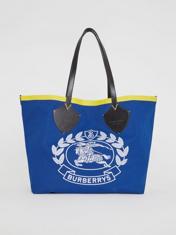 Borsa tote The Giant in cotone con logo d'archivio (Navy)
