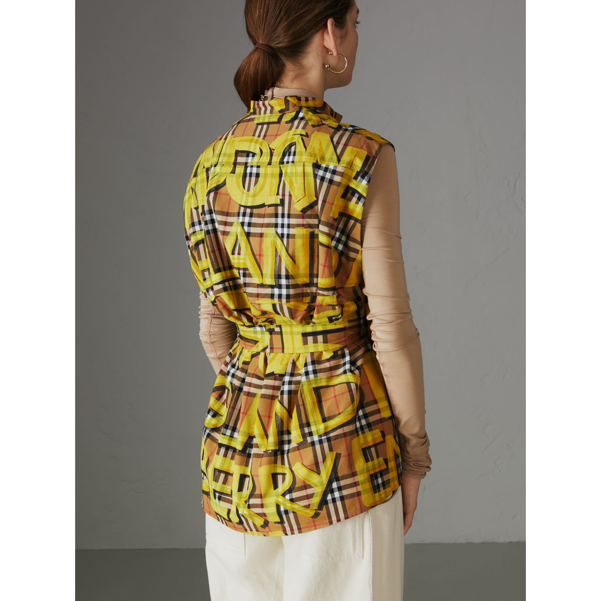 Sleeveless Graffiti Print Vintage Check Cotton Shirt in Bright Yellow - Women | Burberry - gallery image 2