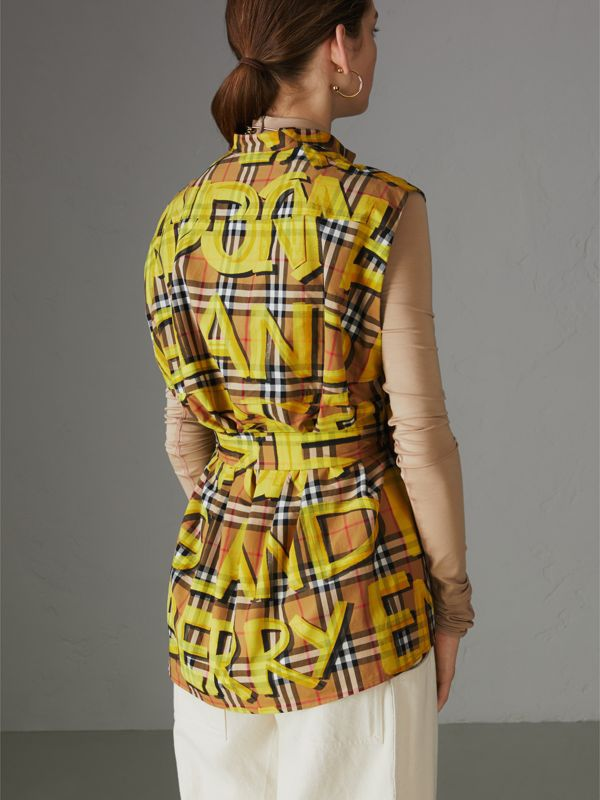 Sleeveless Graffiti Print Vintage Check Cotton Shirt in Bright Yellow - Women | Burberry Singapore - cell image 2