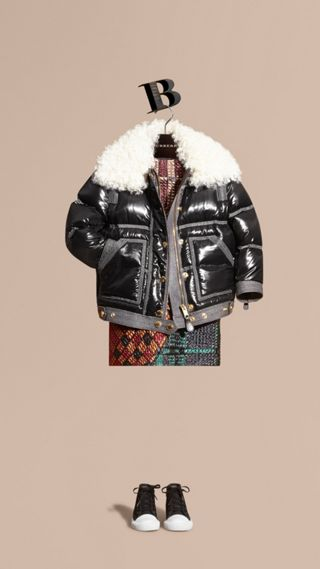 Lightweight Down-filled Puffer Jacket with Shearling Collar