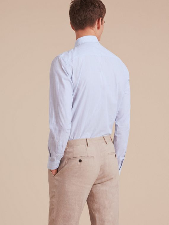 Modern Fit Cotton Linen Striped Shirt in Pale Opal Blue - Men | Burberry - cell image 2