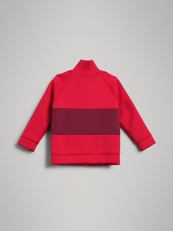 Bold Stripe Detail Tracksuit Top in Bright Red - Girl | Burberry - cell image 3
