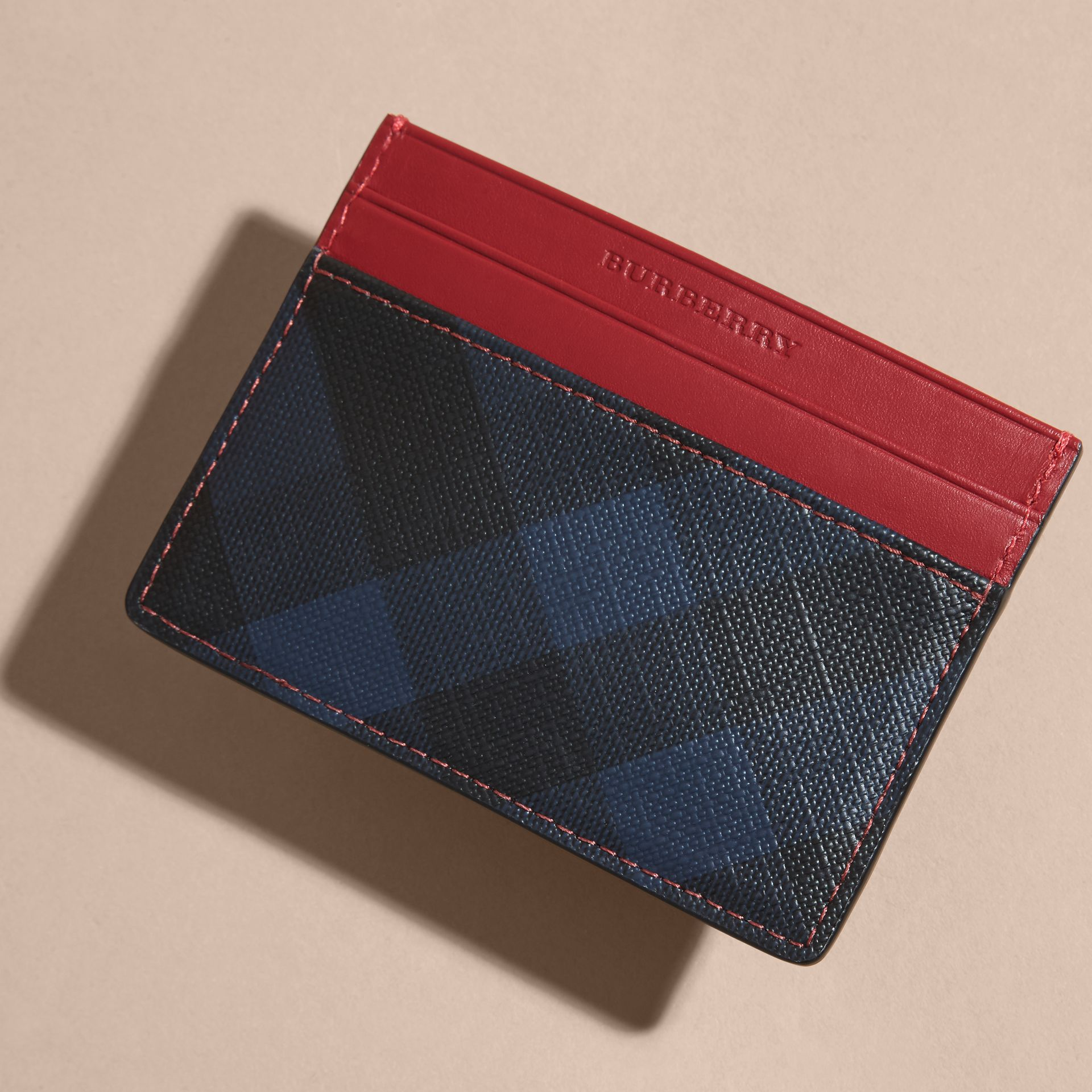 London Check and Leather Card Case in Parade Red - gallery image 3
