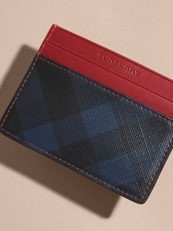 London Check and Leather Card Case in Parade Red - cell image 2