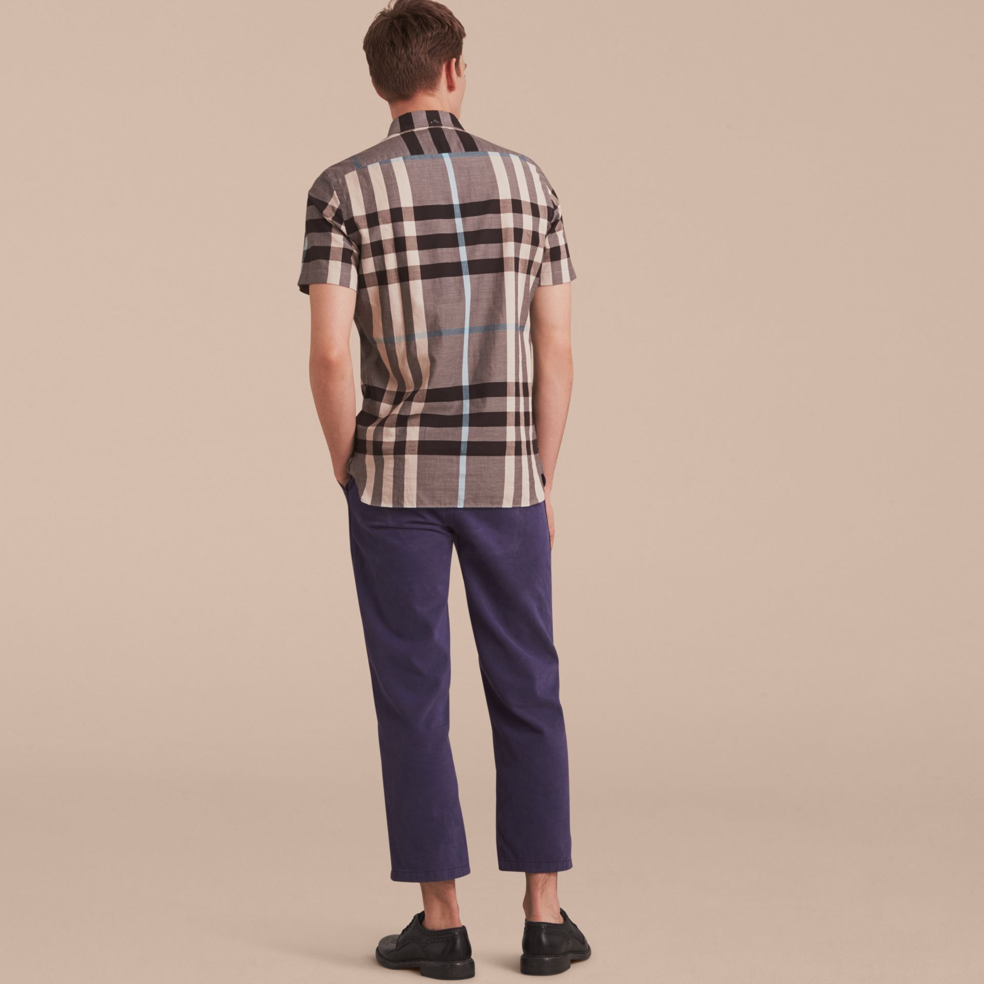 Button-down Collar Short-sleeve Check Cotton Shirt in Mist Grey - gallery image 3