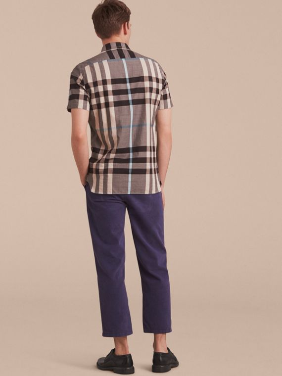 Button-down Collar Short-sleeve Check Cotton Shirt in Mist Grey - cell image 2