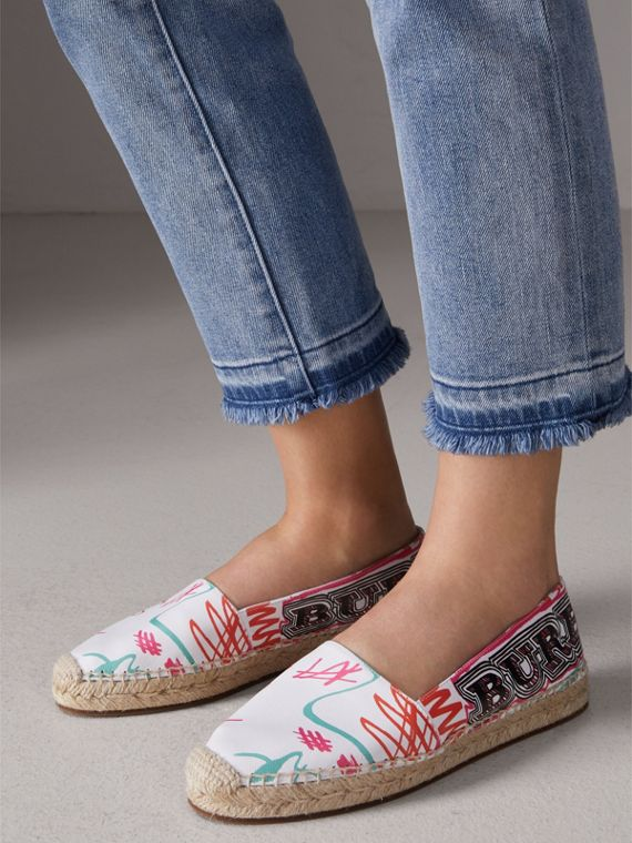 Doodle Print Coated Cotton Espadrilles in Optic White - Women | Burberry Singapore - cell image 2