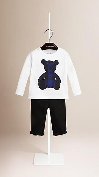 T-shirt à manches longues en coton à imprimé Teddy-bear