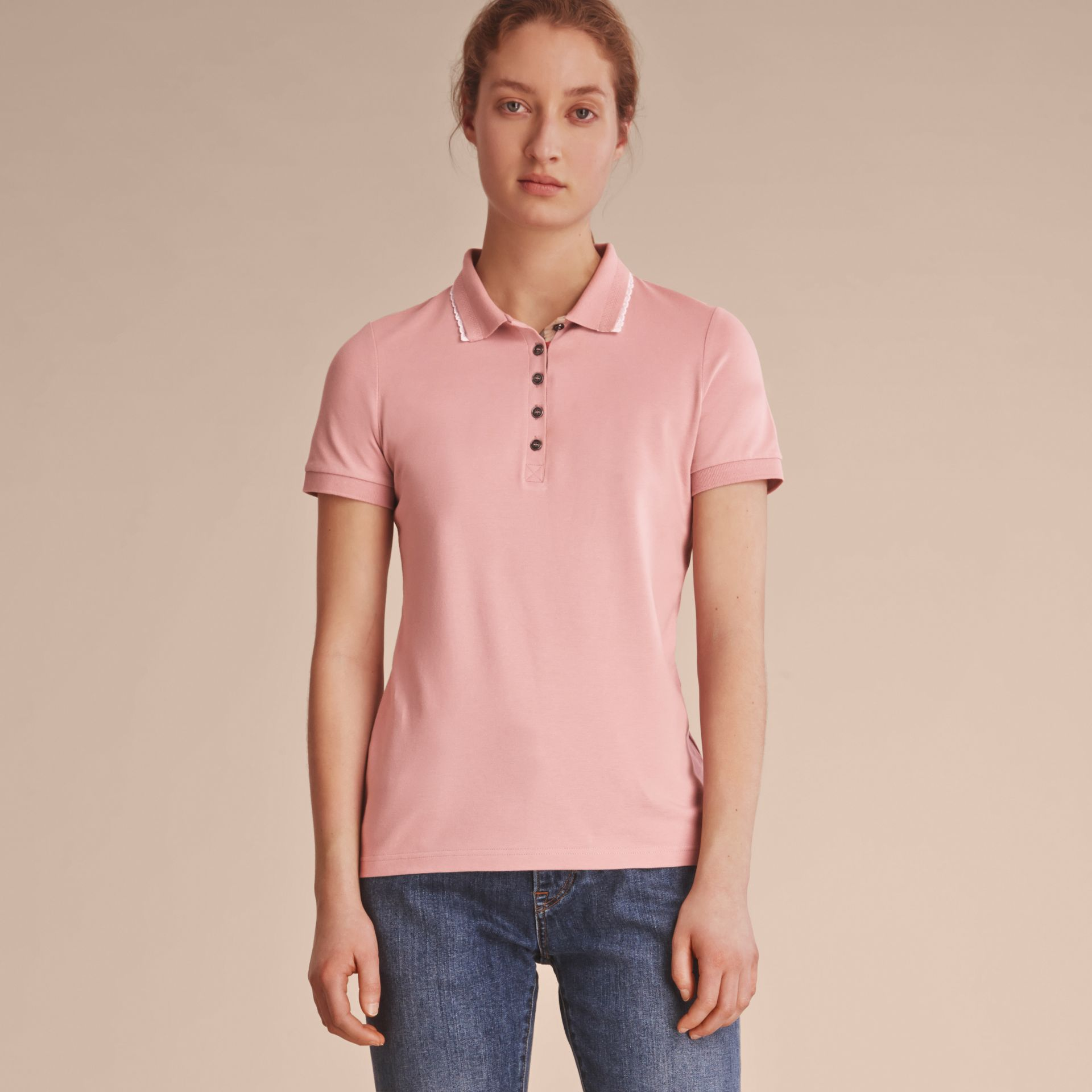 Lace Trim Cotton Blend Polo Shirt with Check Detail in Nude - Women | Burberry - gallery image 7