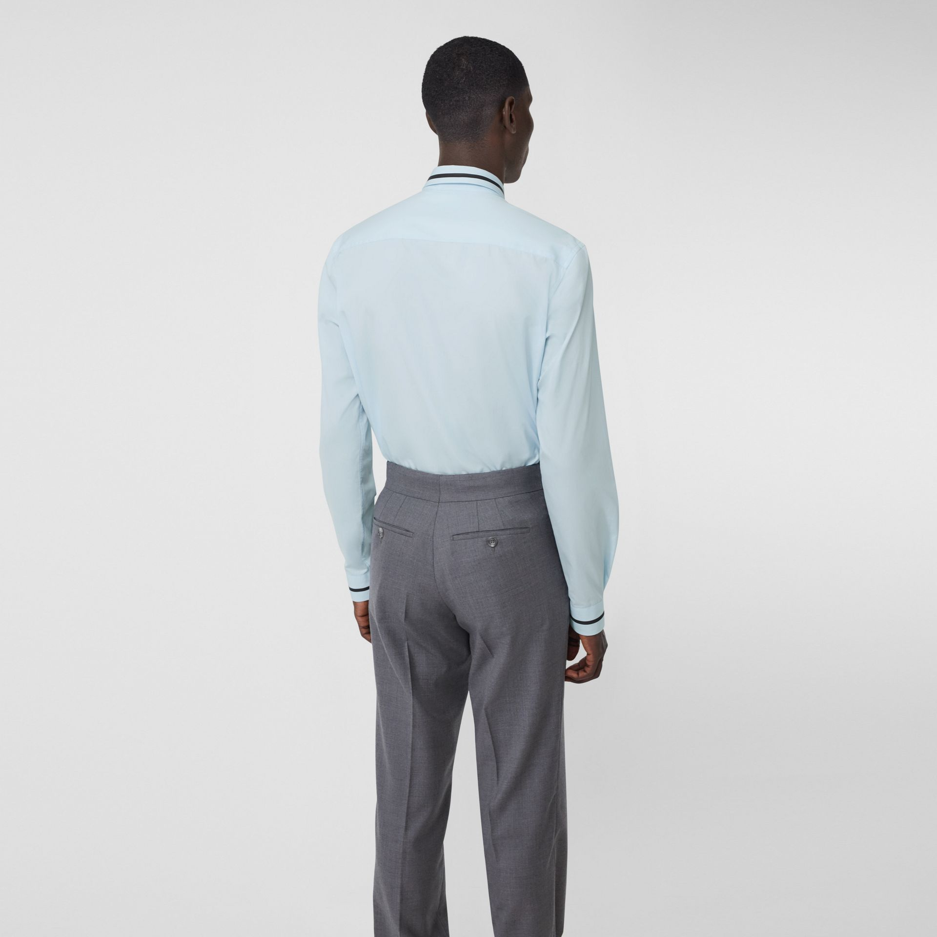 Classic Fit Logo Tape Detail Cotton Poplin Shirt in Pale Blue | Burberry Australia - gallery image 2