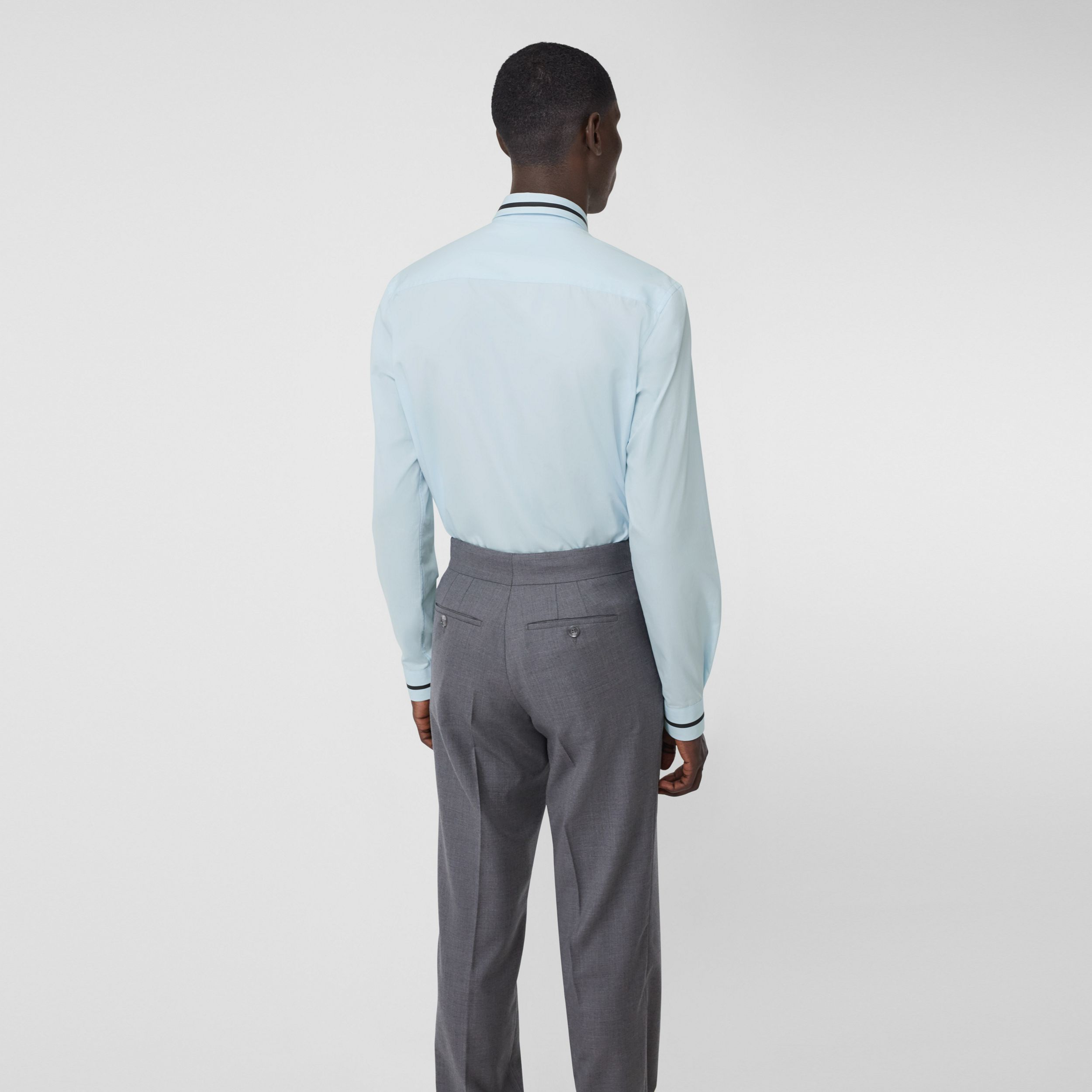 Classic Fit Logo Tape Detail Cotton Poplin Shirt in Pale Blue - Men | Burberry - 3
