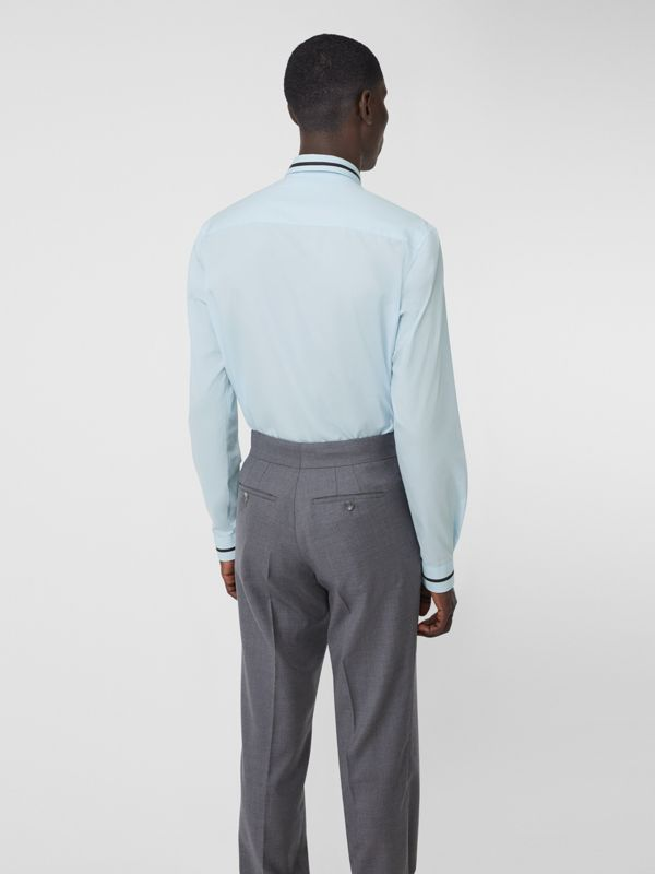Classic Fit Logo Tape Detail Cotton Poplin Shirt in Pale Blue | Burberry - cell image 2