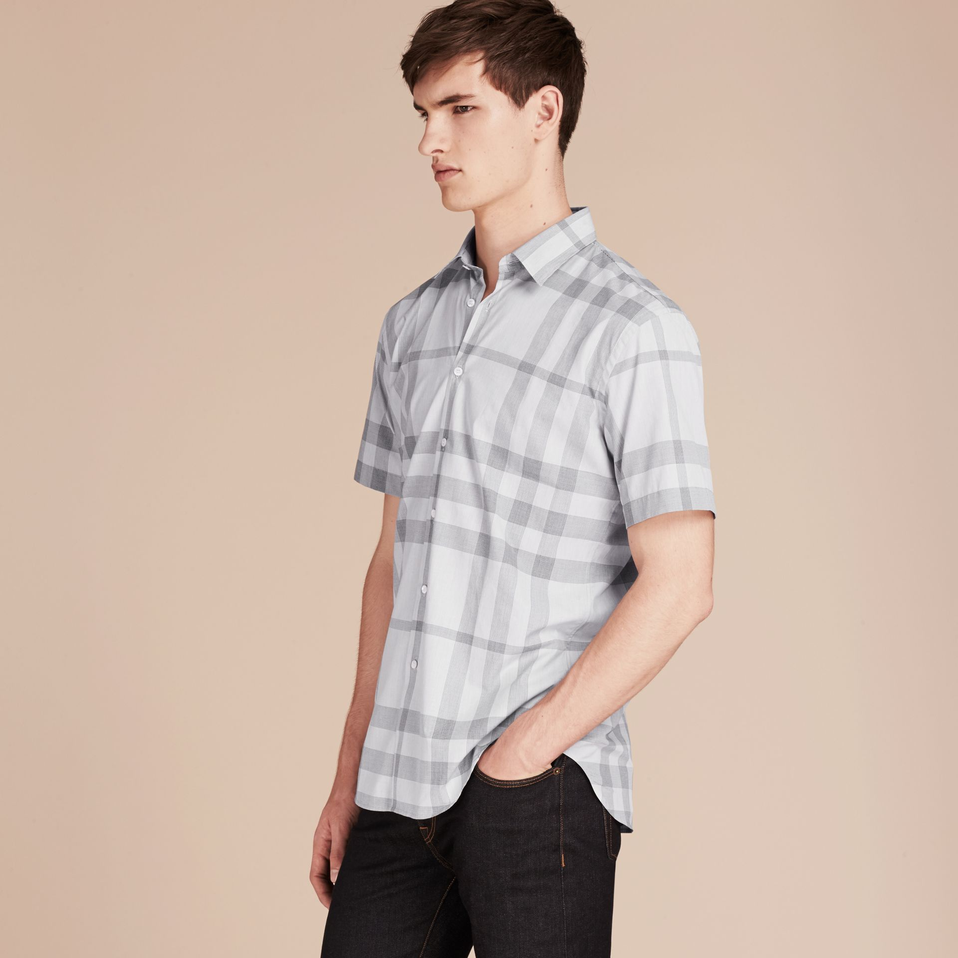 Pale grey Short-sleeved Check Cotton Shirt - gallery image 6