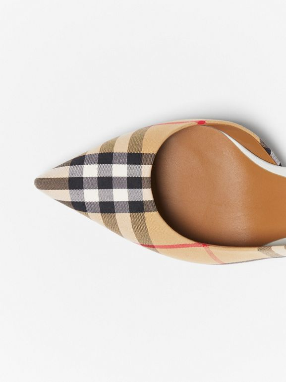 Vintage Check Slingback Pumps in Archive Beige - Women | Burberry Hong Kong - cell image 1
