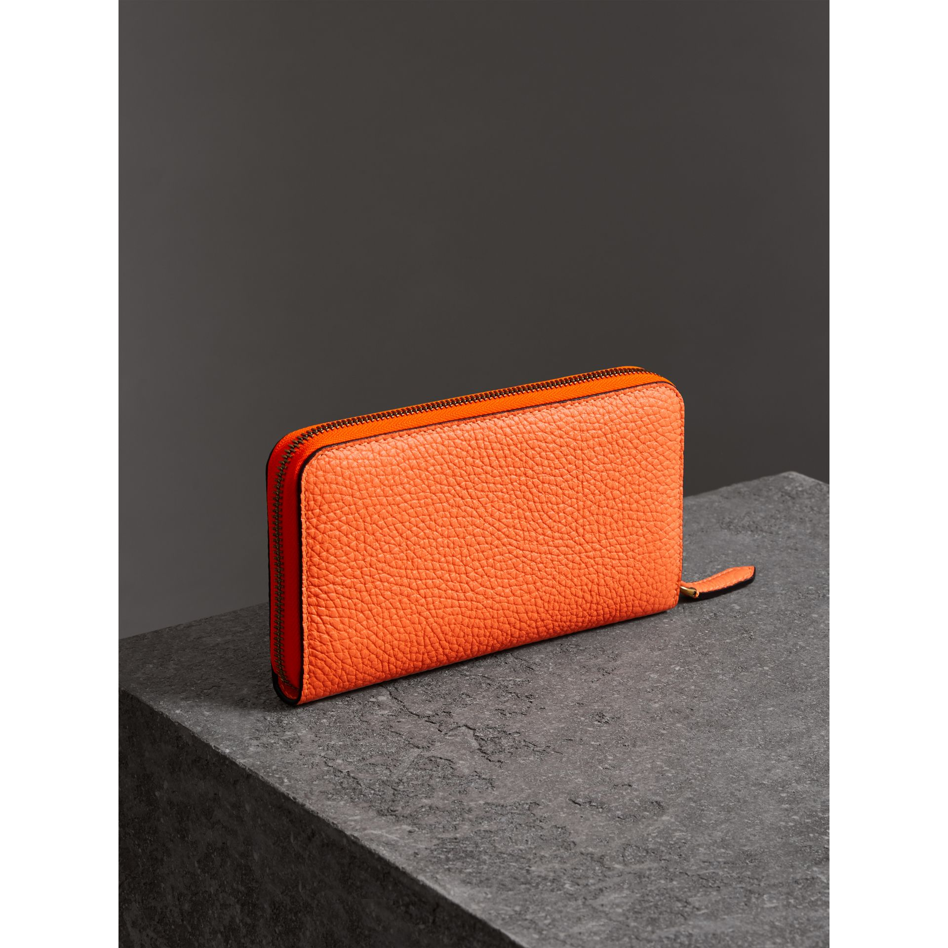 Embossed Leather Ziparound Wallet in Bright Orange - Women | Burberry - gallery image 2